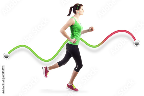 Running woman over white background