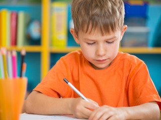Cute little boy at lesson