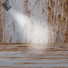 Escenario oxidado con foco