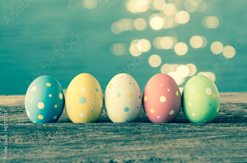 Colorful easter eggs,Vintage background