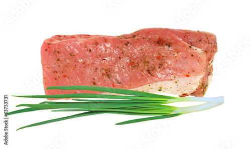 tasty bacon with spices and green onion isolated on white