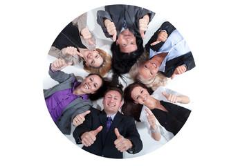 Geschäftsleute Team zeigt Daumen hoch Zeichen