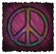canvas print picture - Peace symbol on a wooden signs
