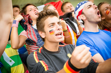 world supporter at the soccer stadium