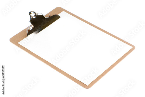Empty document in a clipboard (sketch board) isolated on white