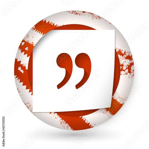 red abstract icon with paper and quotation mark