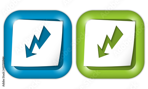 set of two icons with paper and flash