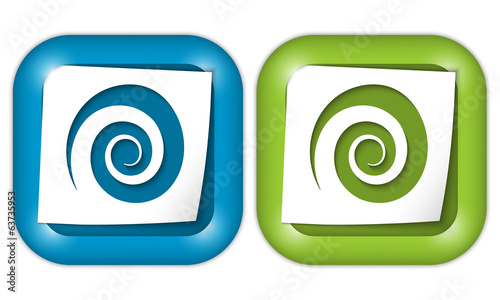set of two icons with paper and spiral