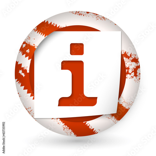 red abstract icon with paper and info icon