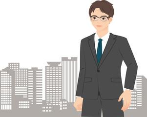 都市のビル群とスーツのビジネスマン