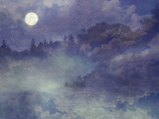 Fantasy Background with moon