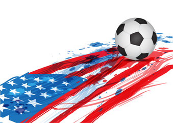 soccer ball on America flag
