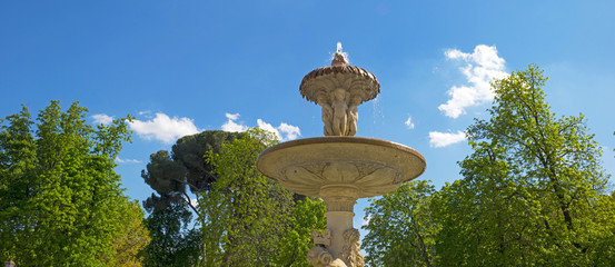 Fountain in the Retiro Park in Madrid