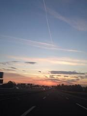 tramonto in autostrada