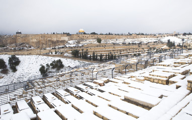 Snowy Jerusalem winter time