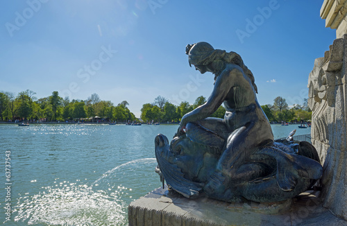 Statue along the Retiro Pond in Madrid