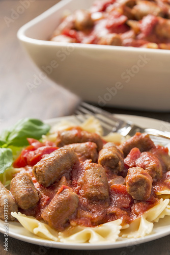 Sausage and bowtie pasta dinner