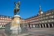 Leinwanddruck Bild - Equestrian statue on the Plaza Mayor in Madrid