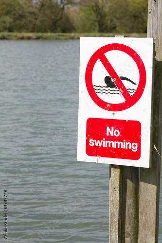 No swimming sign at edge of lake