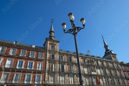 Facade of a building of the Plaza Mayor in Madrid