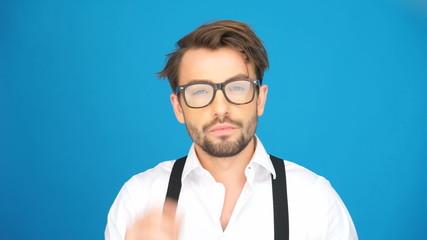 handsome guy wearing glasses