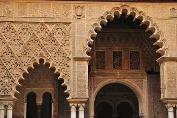 Detail Courtyard of the maidens in the Alcazar of Seville, Spain