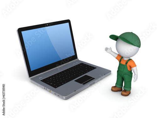 3d small person in workwear and notebook.