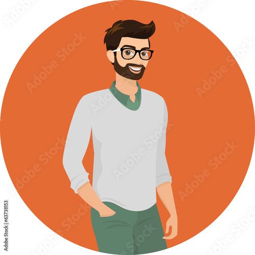Hipster guy, close-up vector illustration