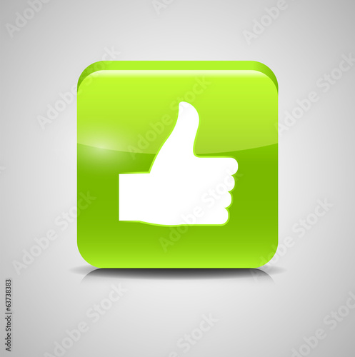 Thumbs Up Glass Button Vector Illustration