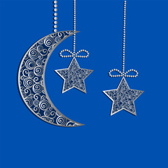 Hanging decoration filigree lace moon and stars