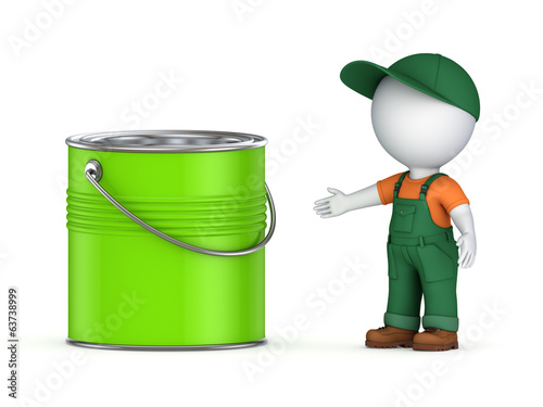 3d small person in workwear and paint can.