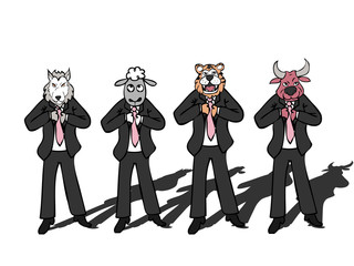 Businessman wild wolf bull sheep tiger