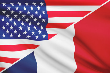 Series of ruffled flags. USA and France.