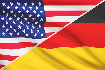 Series of ruffled flags. USA and Germany.