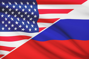Series of ruffled flags. USA and Russia.