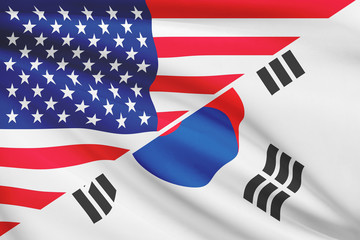 Series of ruffled flags. USA and South Korea.