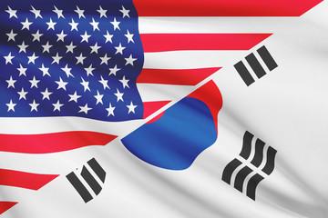 Series of ruffled flags. USA and South Korea.