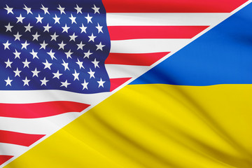 Series of ruffled flags. USA and Ukraine.