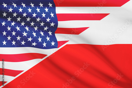 Series of ruffled flags. USA and Poland.
