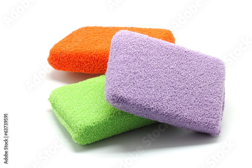 Bath sponges isolated on white background
