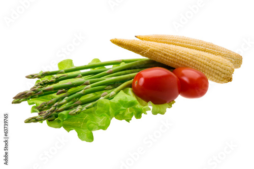 Baby corn with asparagus