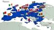 canvas print picture - Europäische Union mit Landesflaggen 1