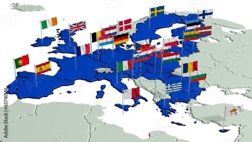 canvas print picture Europäische Union mit Landesflaggen 1