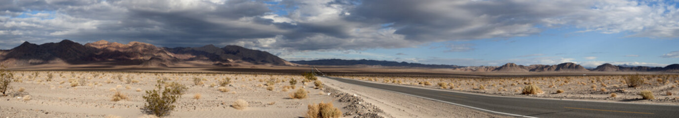 stormy death valley highway panorama