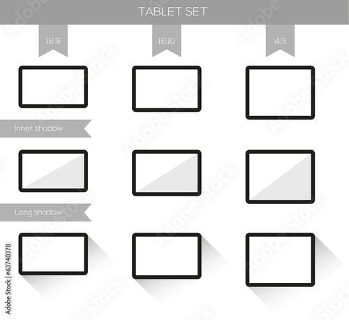 Collection of 9 tablet illustrations