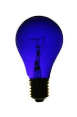 blaue glühbirne auf weißem hintergund