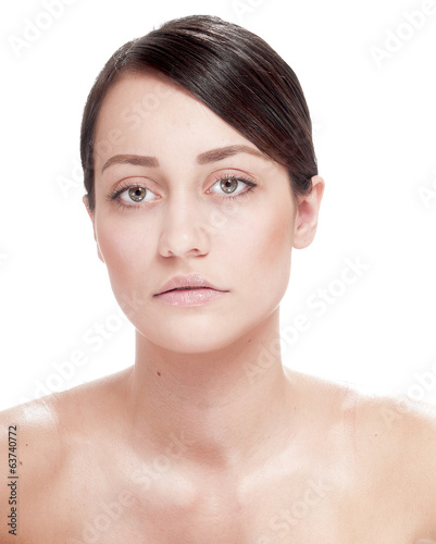 Woman with well-groomed skin  - isolated on white background.