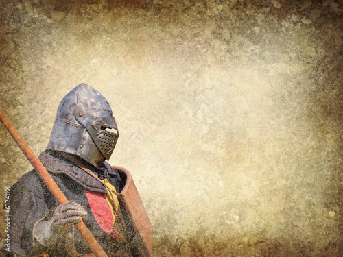 Poster Armored knight - retro postcard