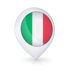 GPS icon with flag of Italy.