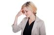 Geschäfts Frau hat Kopfschemerzen und macht Krank